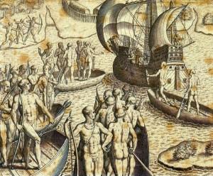 Theodor_de_Bry_-_Ataque_de_Portugueses_e_Tupiniquins_Ăs_Cabanas_TupinambĂĄs