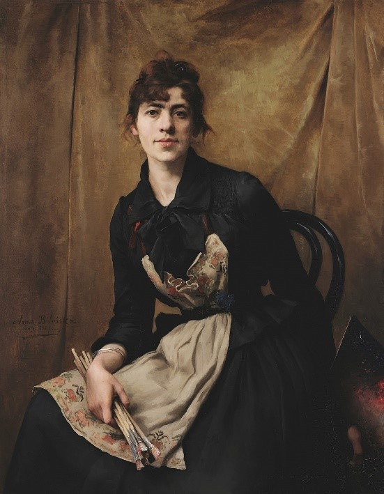 Anna Bilińska-Bohdanowiczowa - Autoportret (1887). Olej na płótnie.  Muzeum Narodowe w Krakowie.