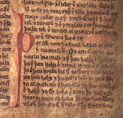 Fragment Sagi o Njalu w manuskrypcie Möðruvallabók (ok. 1350)