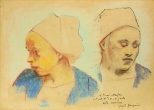 Paul GAUGUIN, Dwie Bretonki (1894) Pastel na papierze.  Fot. Laurent Bruneau © Musée de Pont-Aven