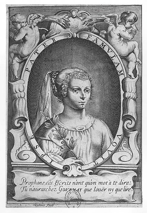 Jean Matheus, portret Marie de Gournay zdobiący wydanie Les Advis ou les Presens de la Demoiselle de Gournay, Paris, Jean du Bray, 1641 (Bibliothèque Nationale de France,  Gallica-BnF).