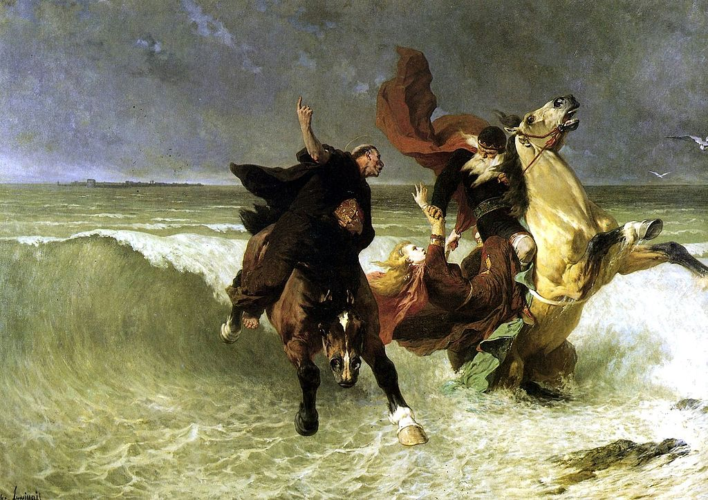 Evariste-Vital Luminais - Ucieczka króla Gradlona (ok. 1884). Muzeum Sztuk Pięknych w Quimper