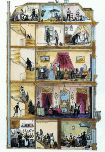 Kamienica-paryska-1845-rys.-Bertalla-kop.-Lavieille-w-Le-Diable-Ó-Paris-Paris-et-les-Parisiens-½-Revue-comique-Paris-1845.