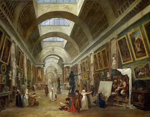 Hubert Robert - Wielka Galeria w Luwrze (1796). Olej na płótnie. Z kolekcji Muzeum w Luwrze.  Domena publiczna.